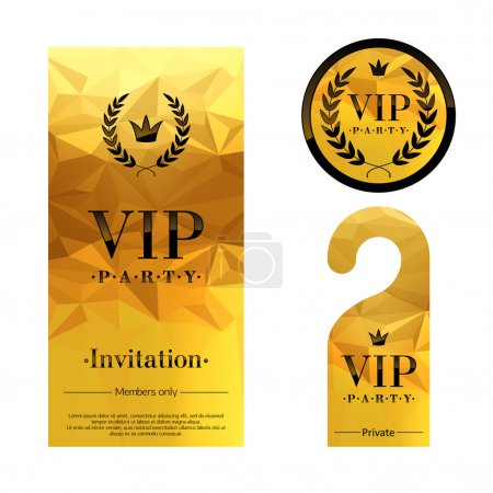 VIP party invitation card, warning hanger and badge.