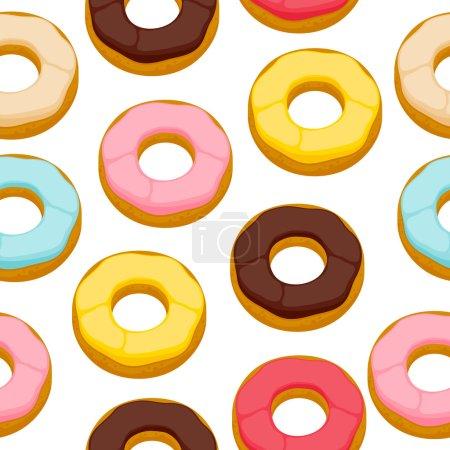 Illustration pour Cookies beignets colorés fond sans couture. Modèle de nourriture sucrée - image libre de droit