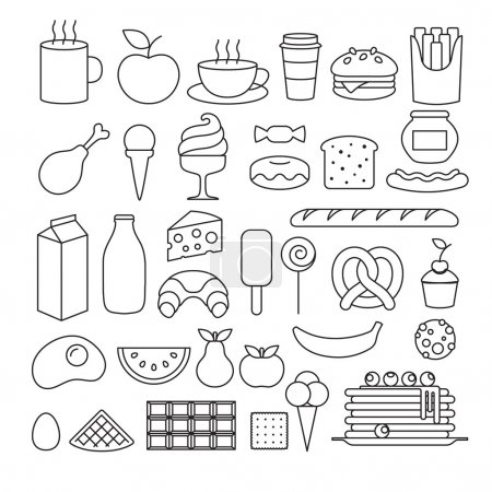 Illustration for Set of different food icons outline style. Sweets, dairy, pastry, drinks, fruits - Royalty Free Image