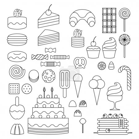 Illustration for Set of sweet food icons outline style. Candy, sweets, lollipop, cake, donut, macaroon, ice cream, jelly - Royalty Free Image