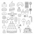 Set of sweet food icons outline style. Candy, swee...