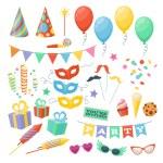 Celebration party carnival festive icons set. Colo...
