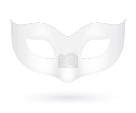 Illustration for Blank realistic white carnival mask icon template illustration. Party masquerade symbol - Royalty Free Image