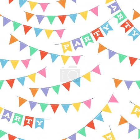 Colorful party flags seamless pattern.