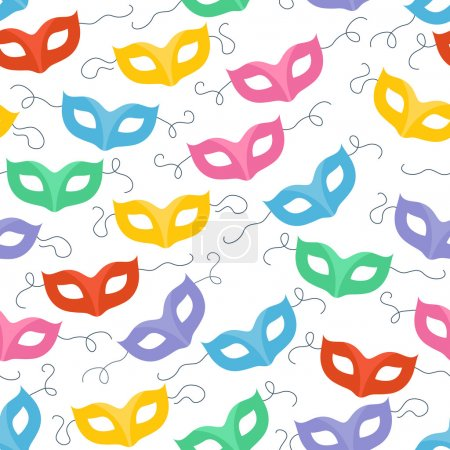Illustration for Colorful masquerade carnival masks seamless pattern. Party background - Royalty Free Image