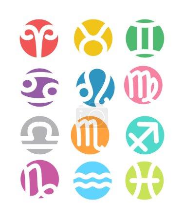 Illustration for Set of horoscope zodiac signs set - colorful flat style - Royalty Free Image