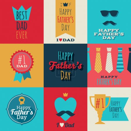 Illustration for Happy fathers day vintage retro badges set. Flat style vector illustration - Royalty Free Image