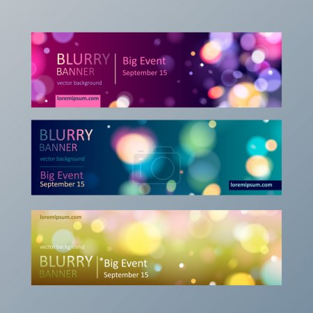 Illustration for Set of colorful blurry bokeh web site banners templates - Royalty Free Image