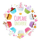 Sweet cupcakes background Colorful illustration