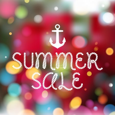 Illustration for Colorful blurry background with anchor and rope style message - summer sale. Summer, spring holiday design - Royalty Free Image