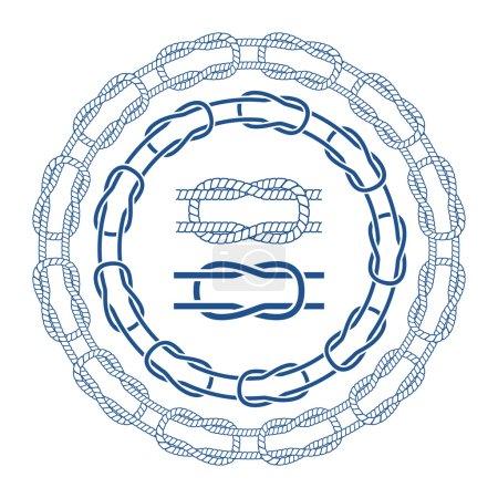 Illustration pour Nœuds de corde de mer nautiques bordes brosses ensemble. Illustration vectorielle - image libre de droit