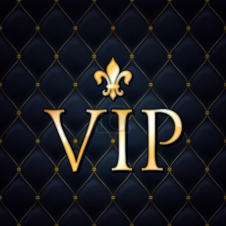 Illustration for VIP abstract quilted background, golden letters with royal lily - Royalty Free Image