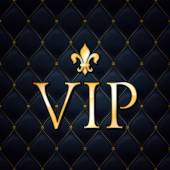VIP abstract quilted background golden letters with royal lily