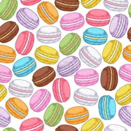 Seamless assorted macarons pattern.