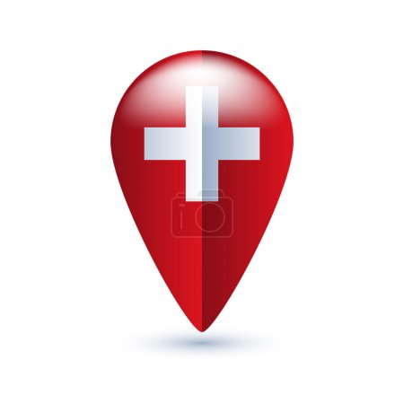 Map location pin with national flag.