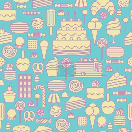 Illustration pour Sweets icônes contour style fond sans couture. Couleurs pastel pâles - image libre de droit