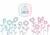 Jewels gemstones flowers hand drawn illustration