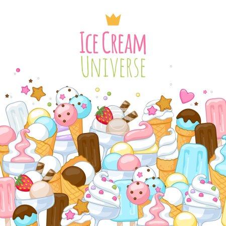 Illustration pour Icônes de crème glacée douce colorée fond. Illustration vectorielle - image libre de droit