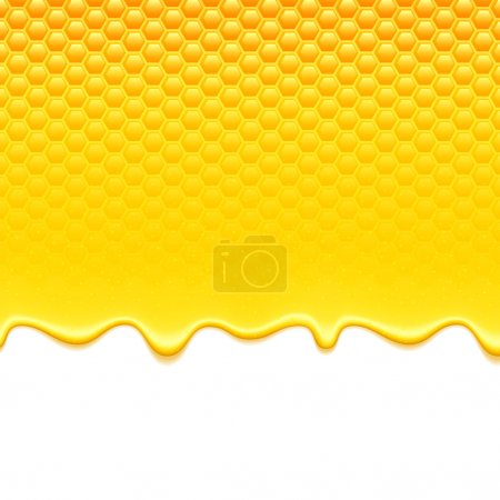 Glossy yellow pattern with honeycomb and sweet hon...
