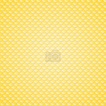 Illustration for Squama fish snake lizard scales seamless background. Yellow pattern - Royalty Free Image