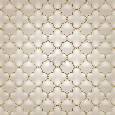 Illustration pour Motif matelassé simple arabesque sans couture. Couleur beige. Piqûres dorées sur textile - image libre de droit