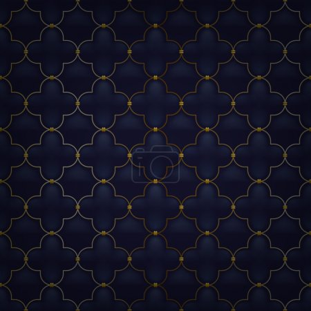 Quilted simple arabesque seamless pattern. Black color.