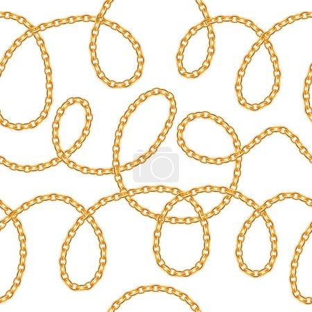 Golden chains on white background.