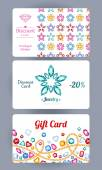 Discount cards with gemstones flowers and chains set