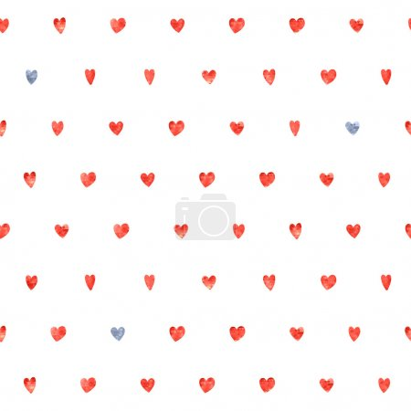 Illustration for Seamless polka dot red and gray hearts pattern. Hearts of small mosaic faceted triangles - Royalty Free Image