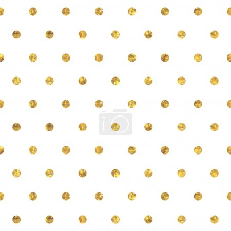 Illustration for Seamless polka dot golden pattern. Dots of small mosaic faceted triangles - Royalty Free Image