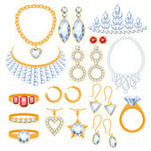 Set of jewelry items Gold and gemstones precious accessorize
