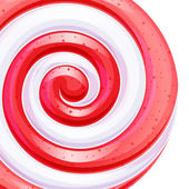 Red and white big lollipop spiral candy background Vector illustration