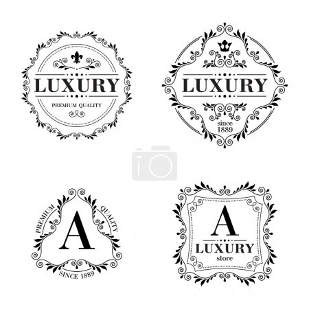 Luxury logo template ornament labels set.