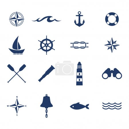 Illustration for Set of nautical sea ocean sailing icons. Compass anchor wheel bell fish lighthous symbols. Vector illustration - Royalty Free Image