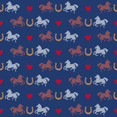 Racing horses and horseshoes seamless pattern Vector background