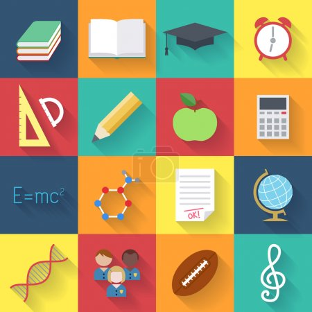 Illustration for School education colorful icon set. Vector illustration flat syle - Royalty Free Image
