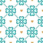 Green gemstones lucky clover seamless pattern