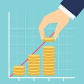 Growing income graph vector illustration