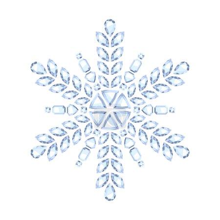 Illustration pour Diamant pierre gemme Noël brillant flocon de neige vecteur illustration - image libre de droit