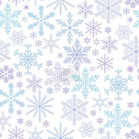 Falling snowflakes colorful seamless pattern.