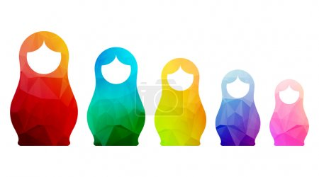 Russian dolls icons set logo silhouette mosaic faceted illustration.