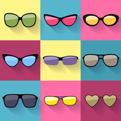 Set of different styles sunglasses.