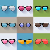Set of different styles sunglasses with colorful lenses icons