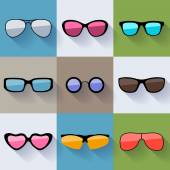 Set of different styles sunglasses