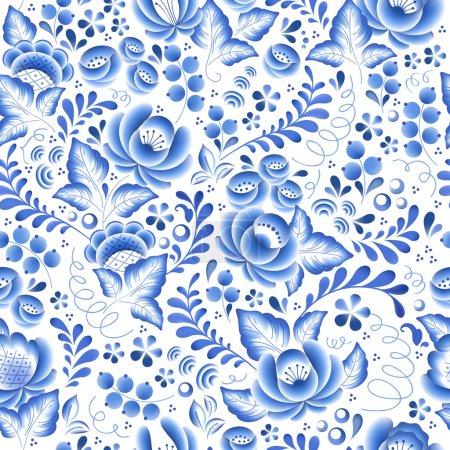 Blue flowers floral russian porcelain beautiful folk ornament.