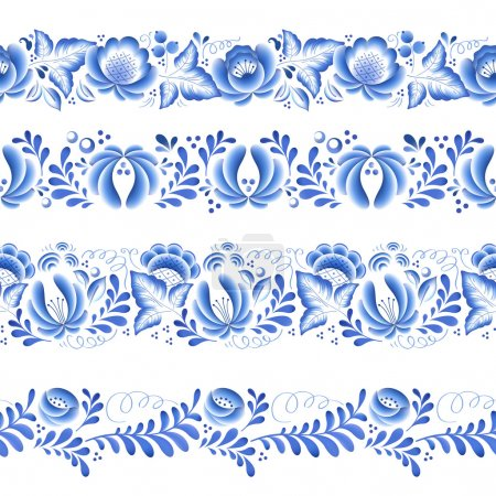 Illustration for Blue flowers floral russian porcelain beautiful folk ornament. Vector illustration. Seamless horizontal borders - Royalty Free Image