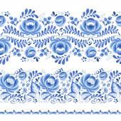 Blue flowers floral russian porcelain beautiful folk ornament