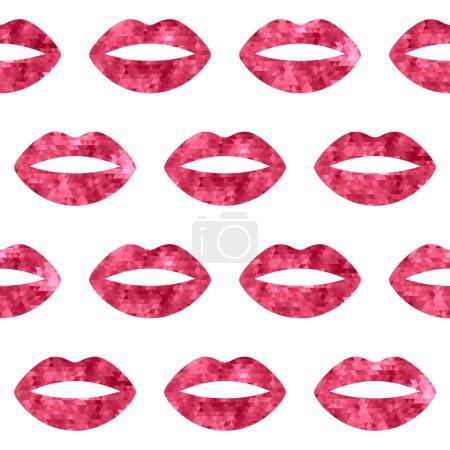 Red woman lips seamless pattern.