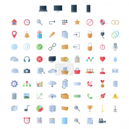 Illustration for Set of small colorful icons for ui user interface mobile devices smartphone computer tablet and web applications simple style - Royalty Free Image