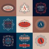 Luxury logo template ornament labels set
